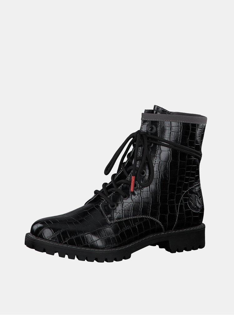 Černé dámské kotníkové boty s krokodýlím vzorem s.Oliver