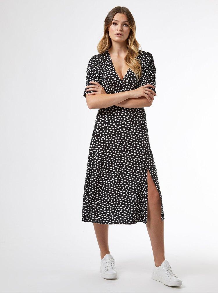 Černé puntíkované midi šaty Dorothy Perkins