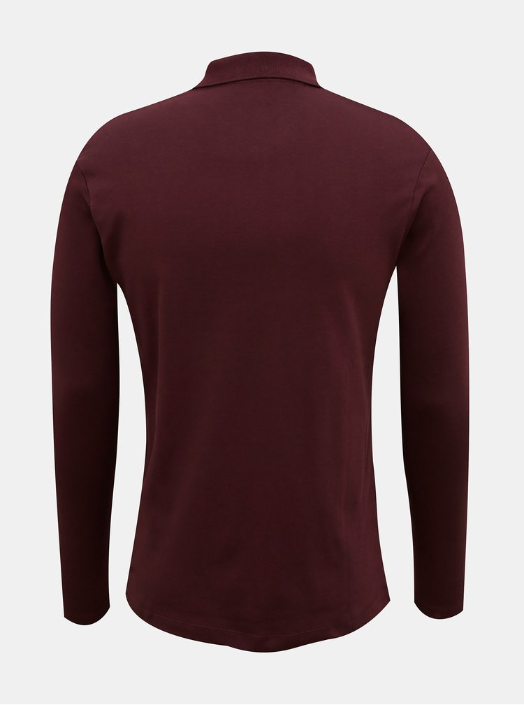 Vínové polo tričko s dlouhým rukávem Selected Homme Paris