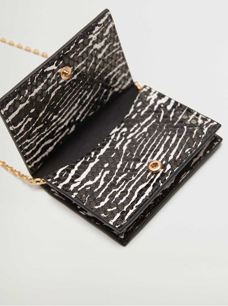Černá vzorovaná malá crossbody kabelka Mango