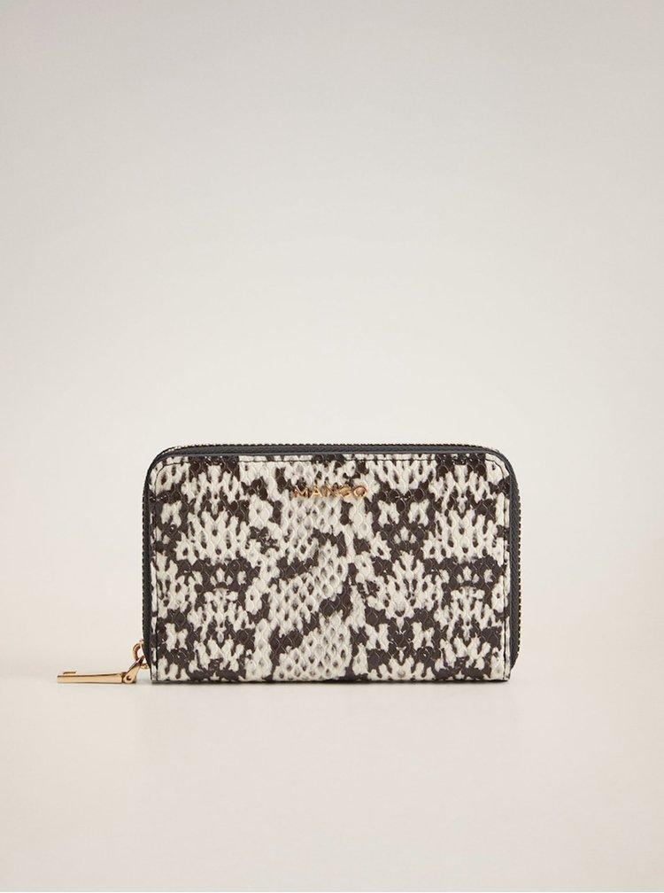 Černo-bílá vzorovaná peněženka Mango