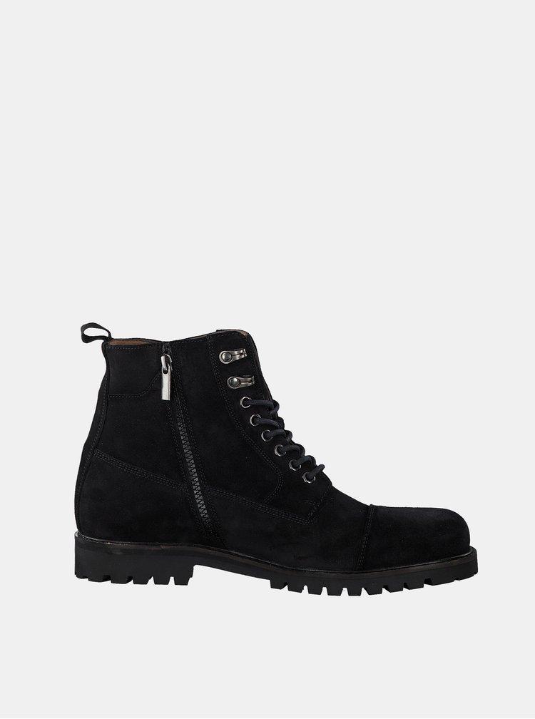 Černé pánské semišové kotníkové boty s.Oliver