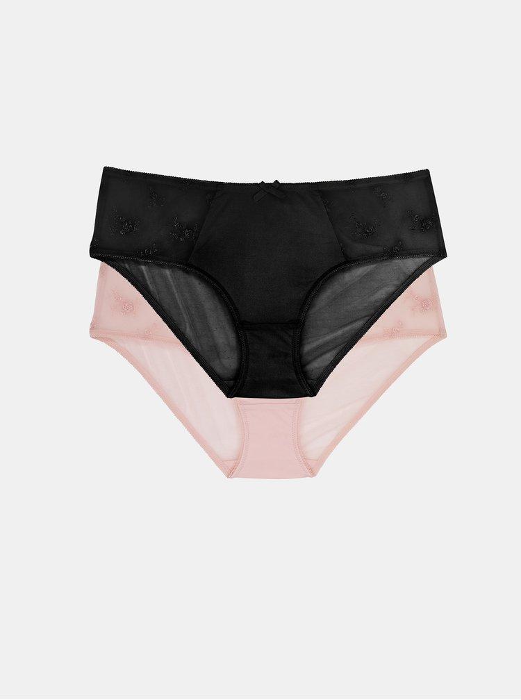 Sada dvoch nohaviček v čiernej a ružovej farbe DORINA