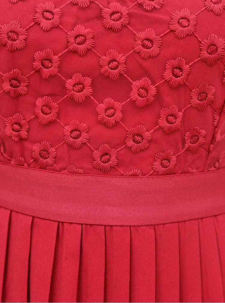 Červené maxišaty s průsvitným sedlem Little Mistress