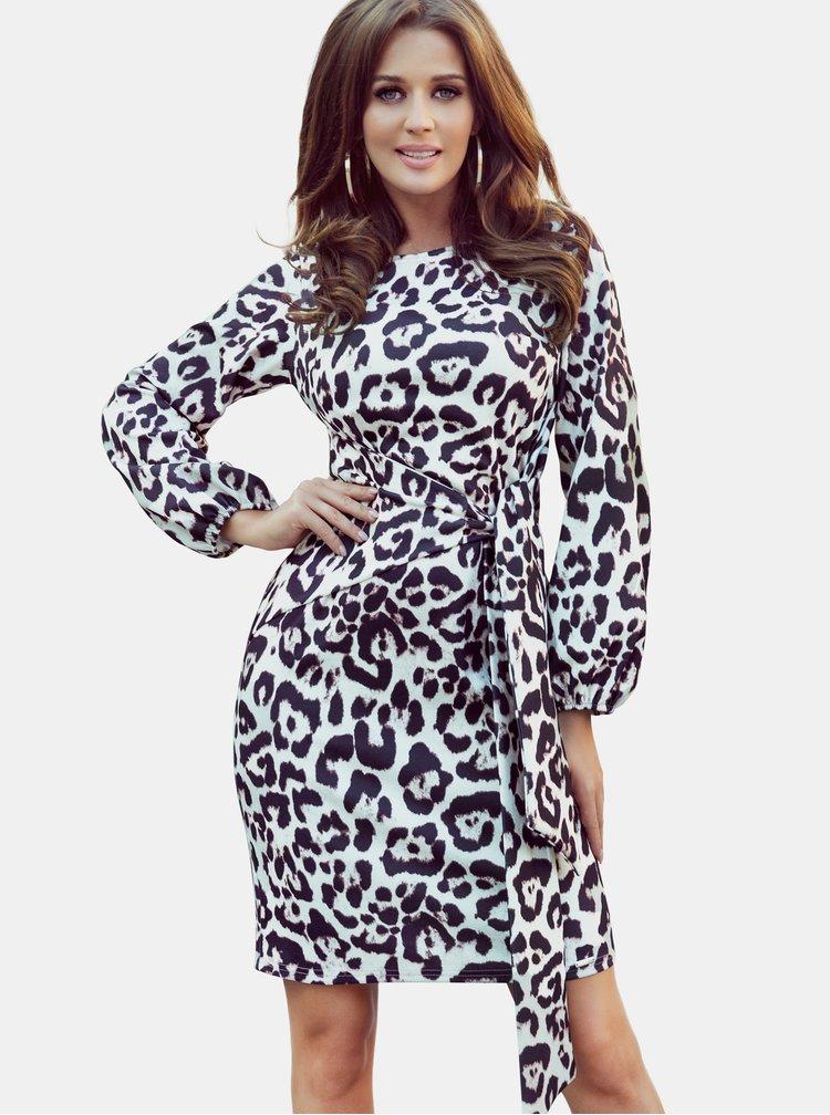 Hnědo-bílé šaty s leopardím vzorem numoco