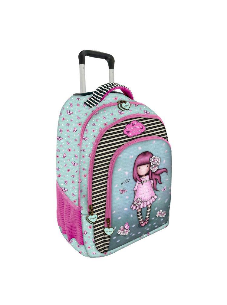 Santoro tyrkysovo-růžový batoh na kolečkách Gorjuss Cherry Blossom