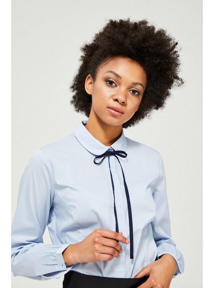 Moodo světle modrá propínací košile s vázankou