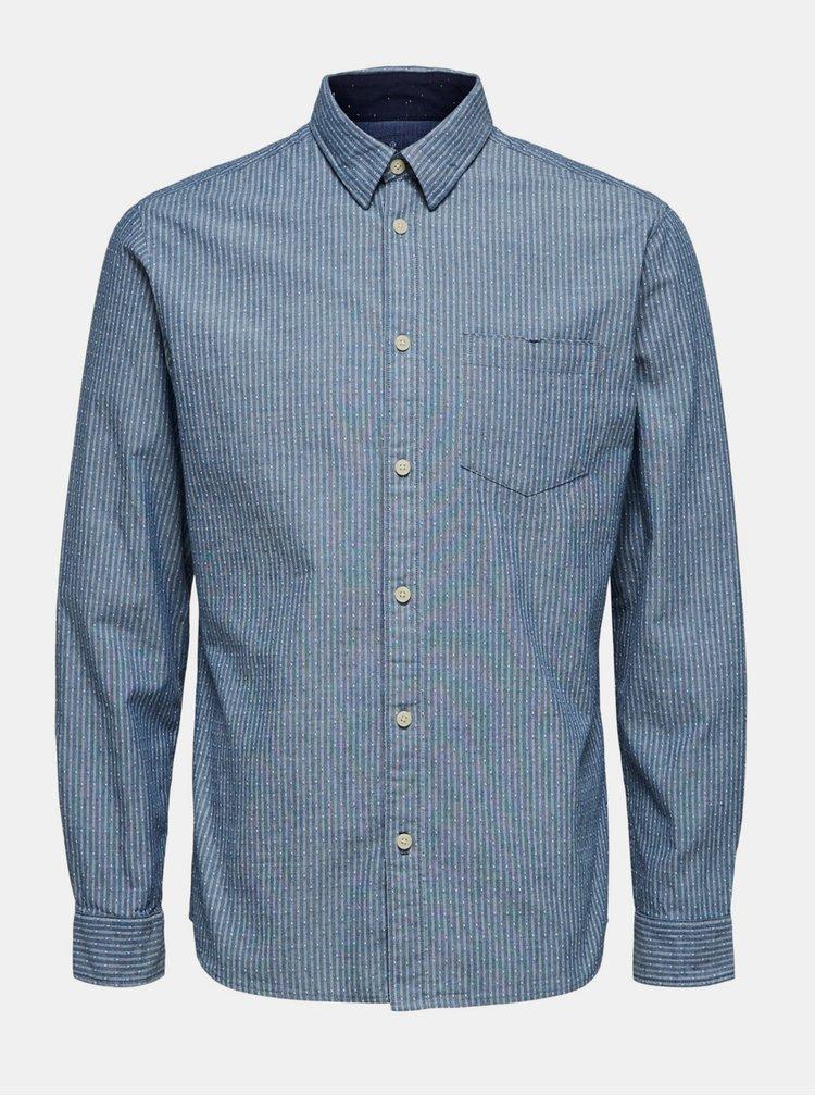 Modrá košile Selected Homme Homme Kayden