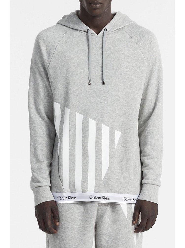 Calvin Klein šedá pánská mikina L/S Hoodie s potiskem