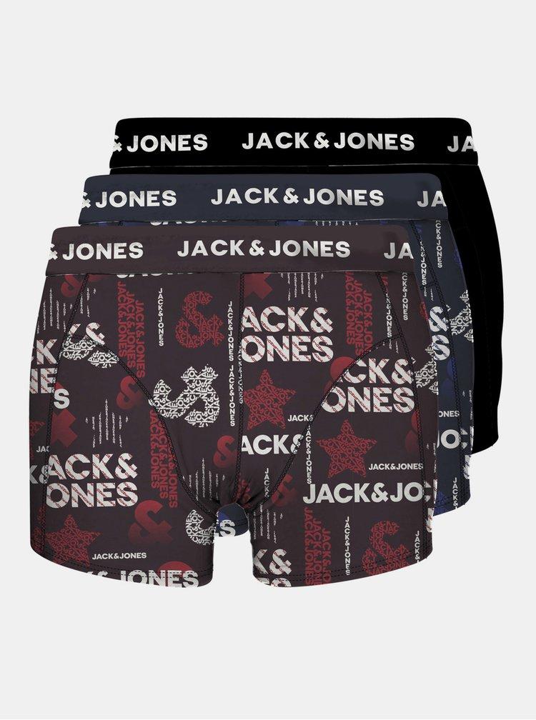 Boxeri mulati pentru barbati Jack & Jones - bordo, negru, albastru