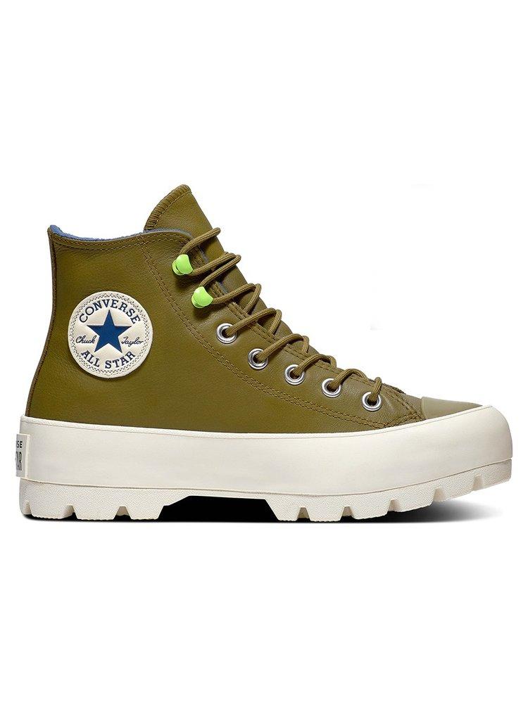 Converse gore-tex kožené tenisky na platformě Chuck Taylor All Star Lugged Winter Combat Green