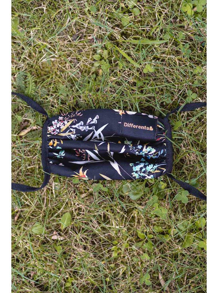 Differenta Design černá rouška s květy a kapsičkou