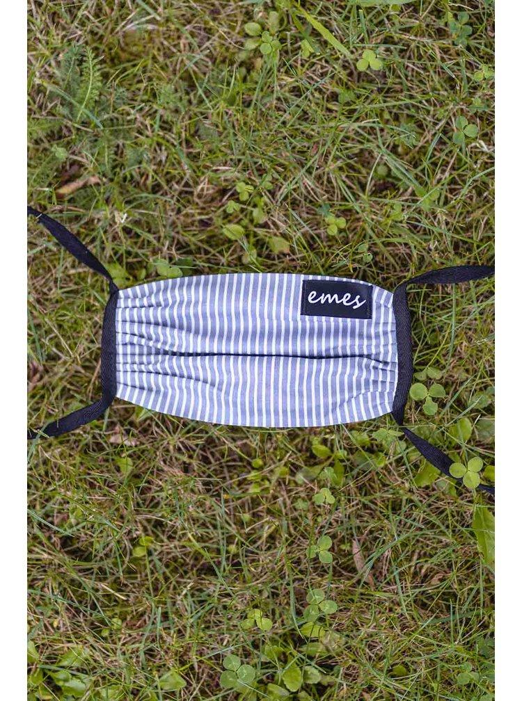 Emes šedo-bílá pruhovaná rouška s kapsičkou