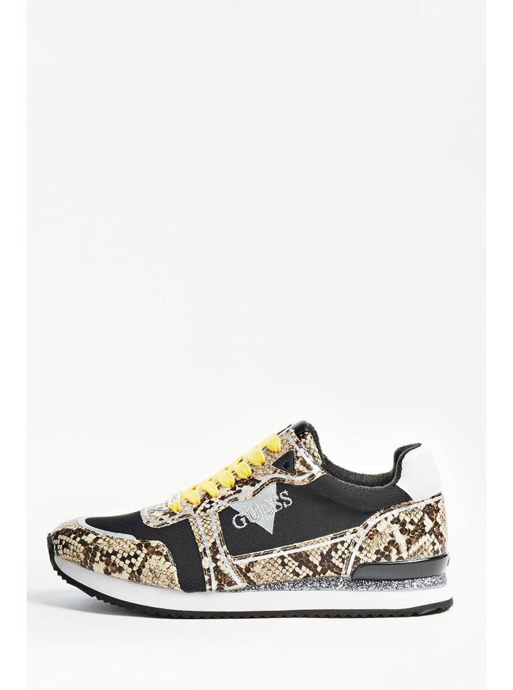 Guess černé tenisky s hadím vzorem Agos Genuie Leather Running Shoe