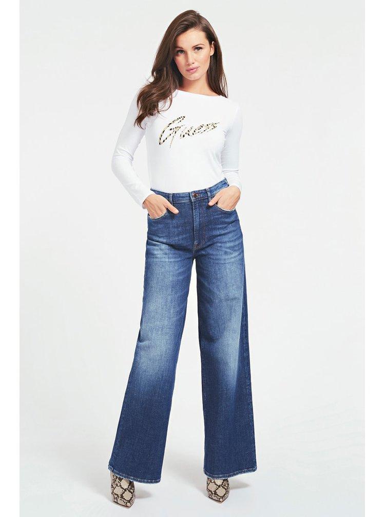 Guess bílé tričko Glitter Logo s dlouhým rukávem