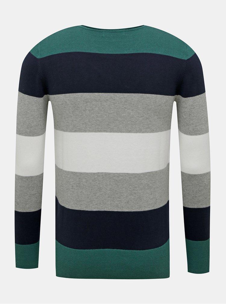 Zeleno-šedý pánský pruhovaný svetr ZOOT Matt