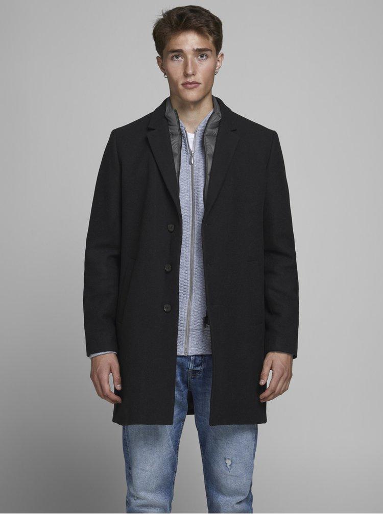 Tmavě modrý kabát s příměsí vlny Jack & Jones Lamoulder