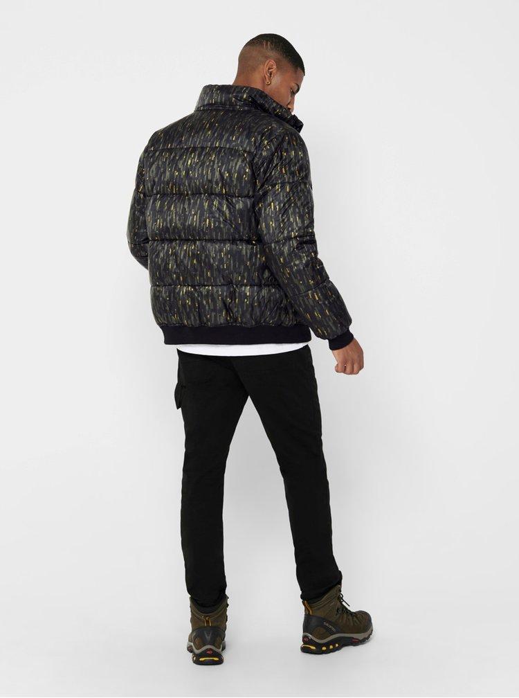 Černá vzorovaná prošívaná bunda ONLY & SONS Sand