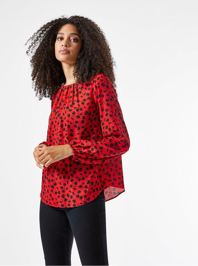 Červená vzorovaná volná halenka Billie & Blossom