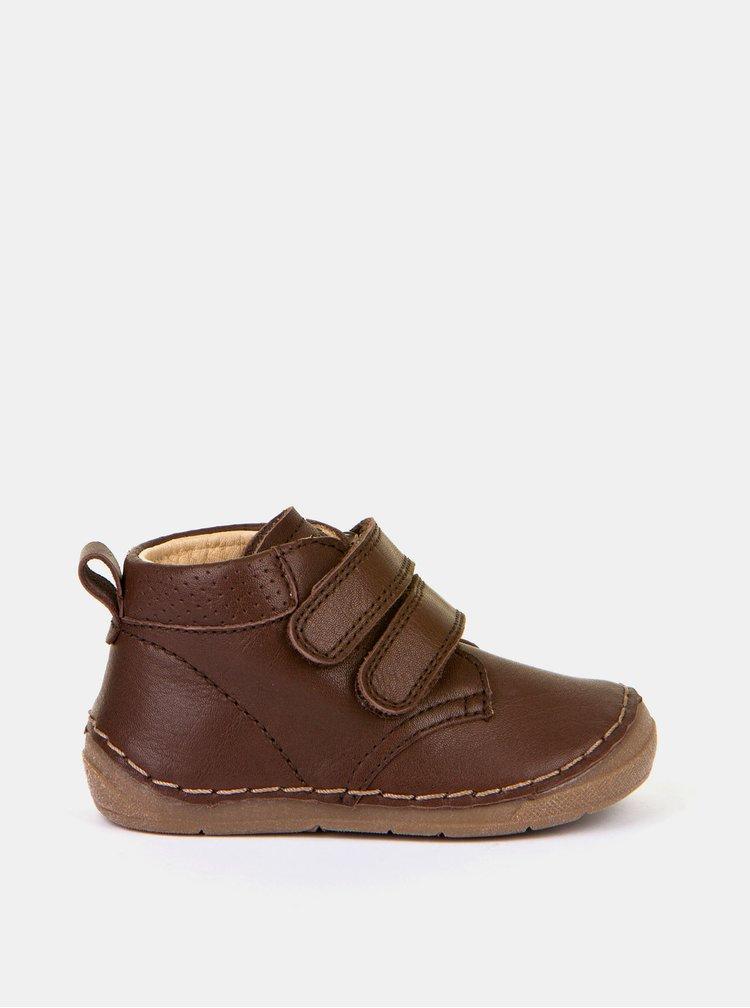Tmavě hnědé chlapecké kožené boty Froddo