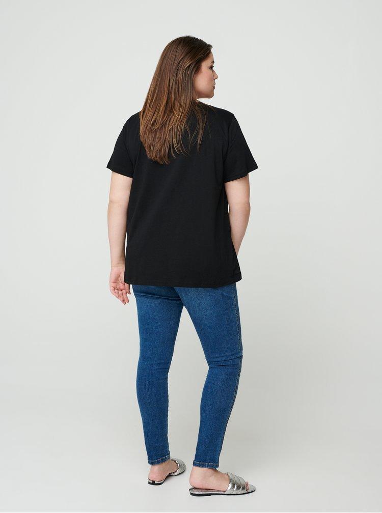 Černé tričko s potiskem Zizzi