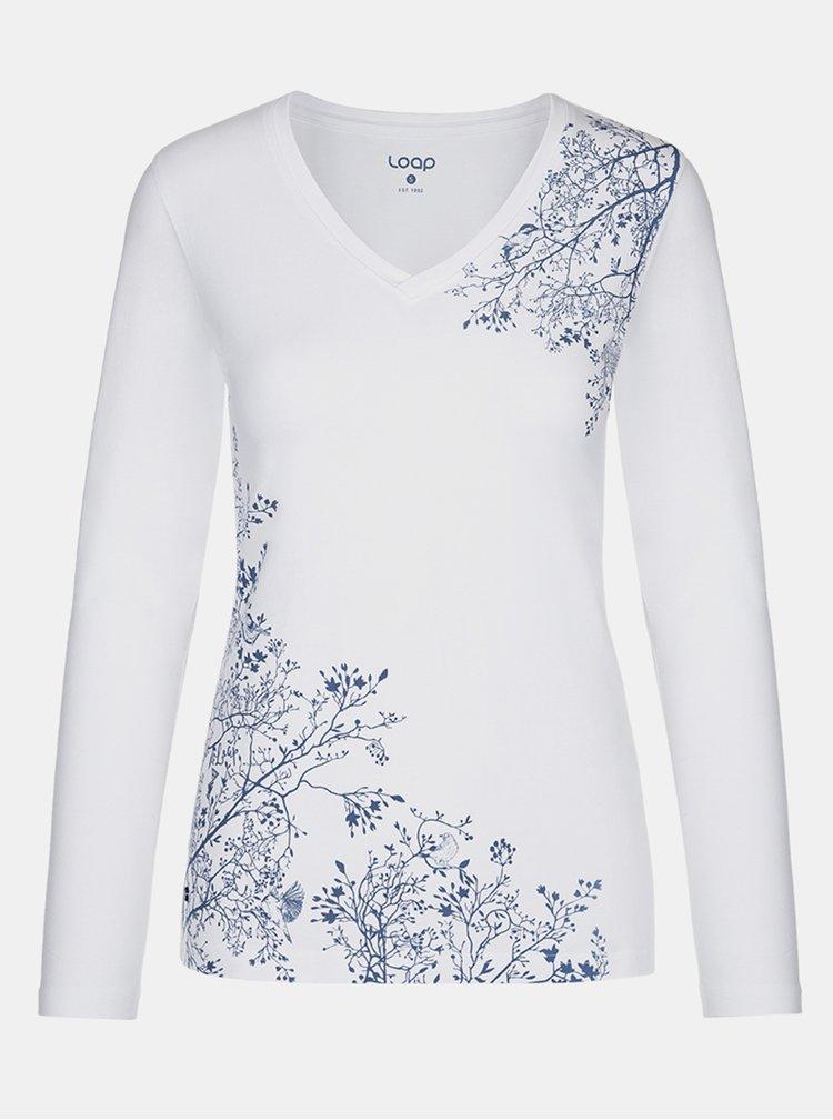 Bílé dámské květované tričko LOAP