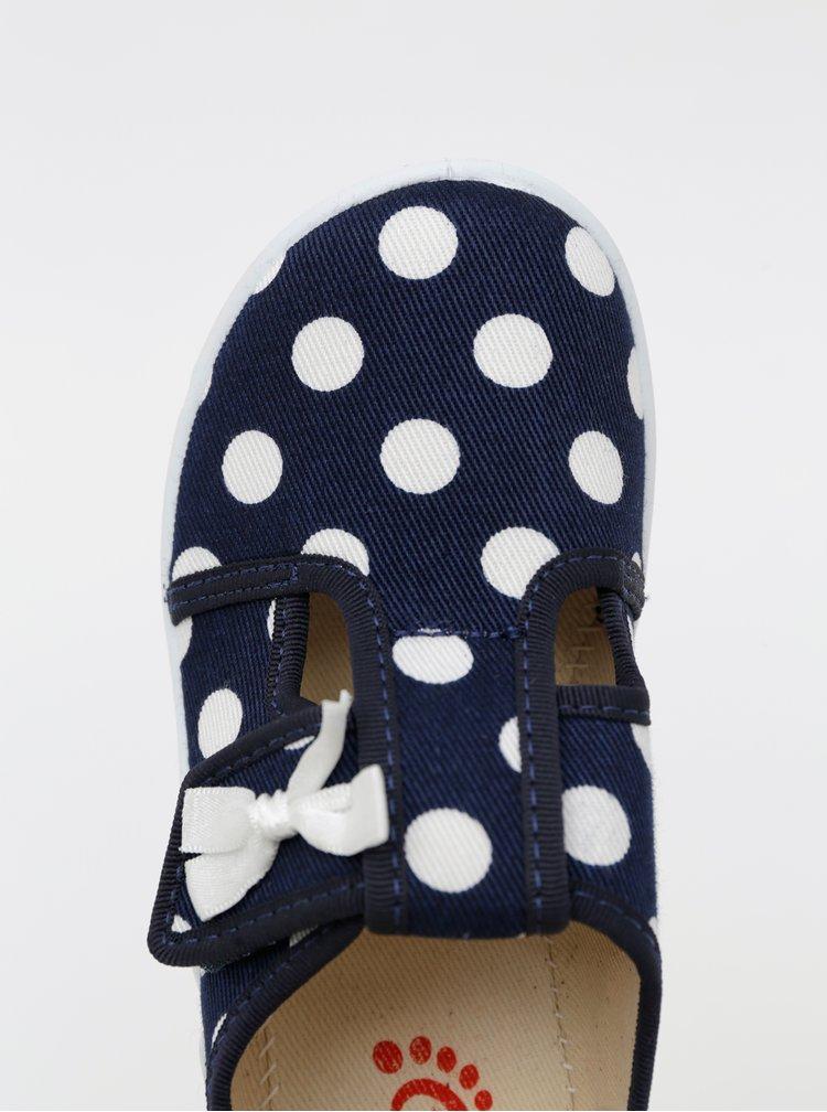 Tmavě modré holčičí puntíkované boty 3F