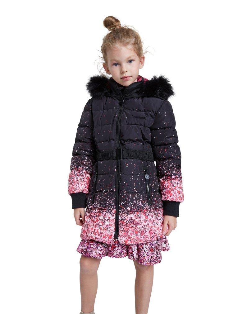 Desigual černý dívčí kabát Chaq Aguacate
