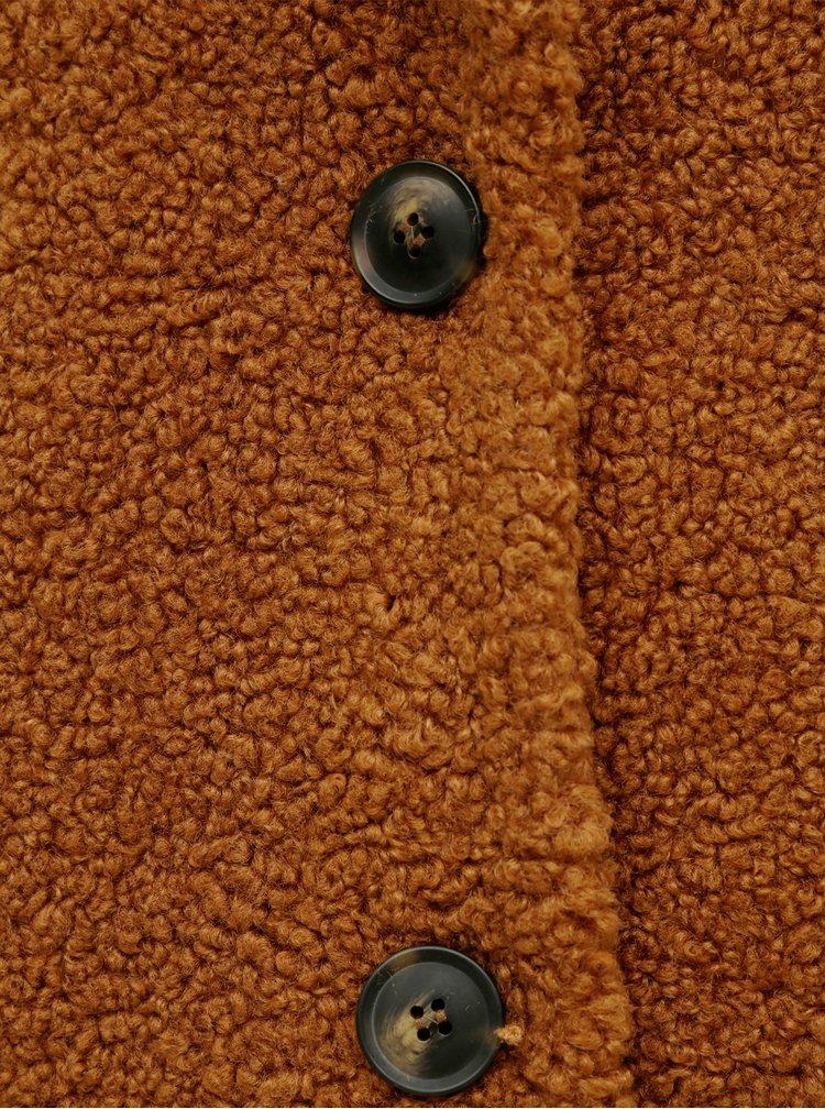 Hnědý kabát VERO MODA CURVE Lucinda