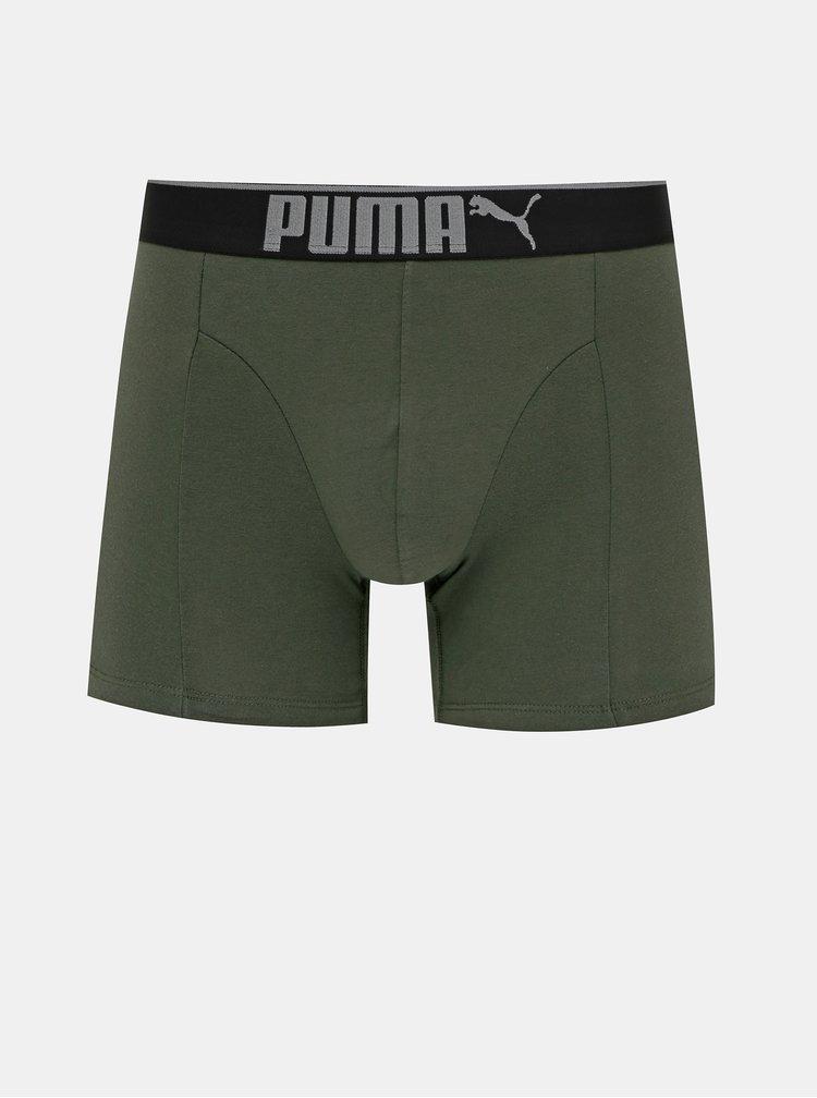 Sada tří boxerek v černé a khaki barvě Puma