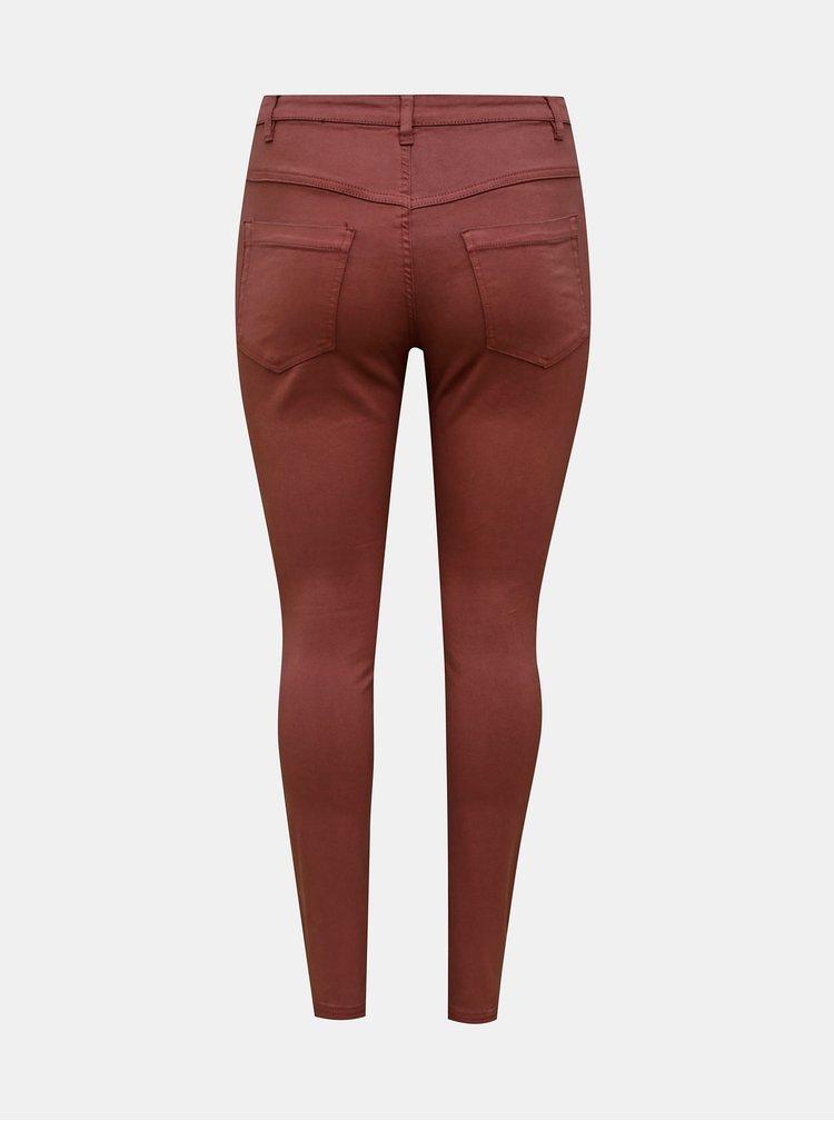 Vínové skinny fit kalhoty Zizzi