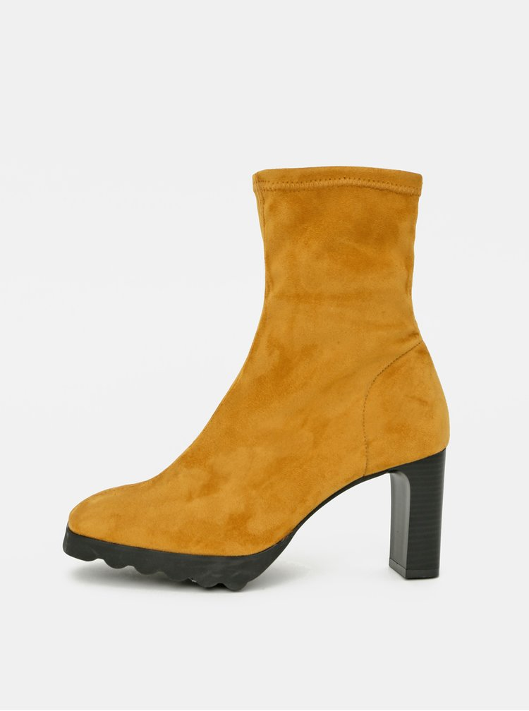 Hořčicové kotníkové boty v semišové úpravě OJJU