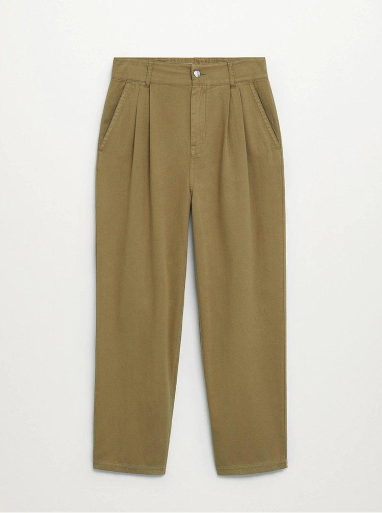Khaki zkrácené kalhoty Mango Relax