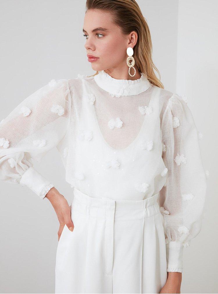 Bílá průsvitná halenka Trendyol