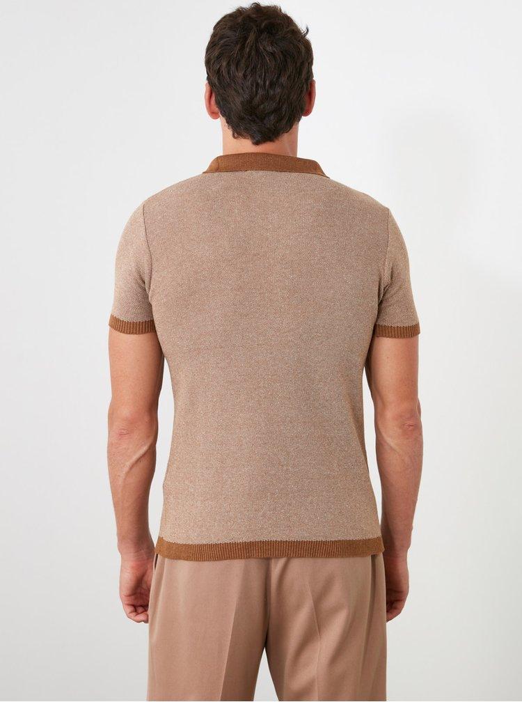 Tricouri polo pentru barbati Trendyol - maro