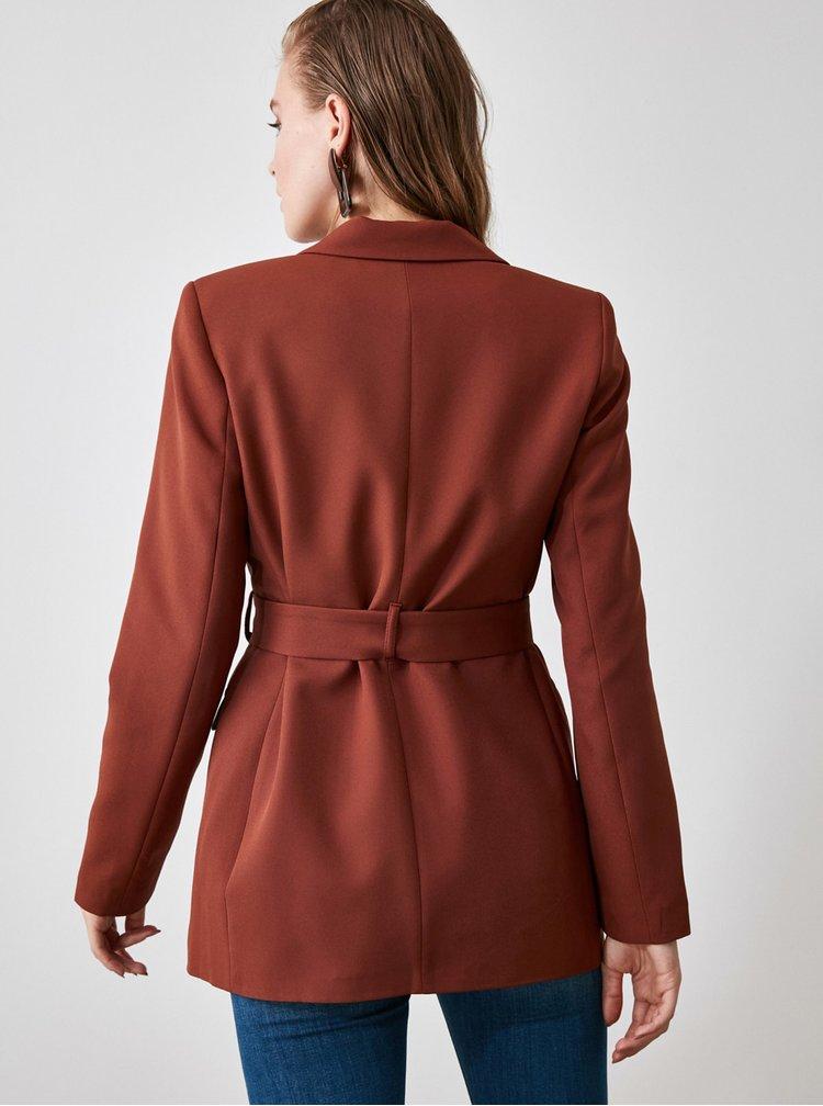 Hnědý kabát Trendyol