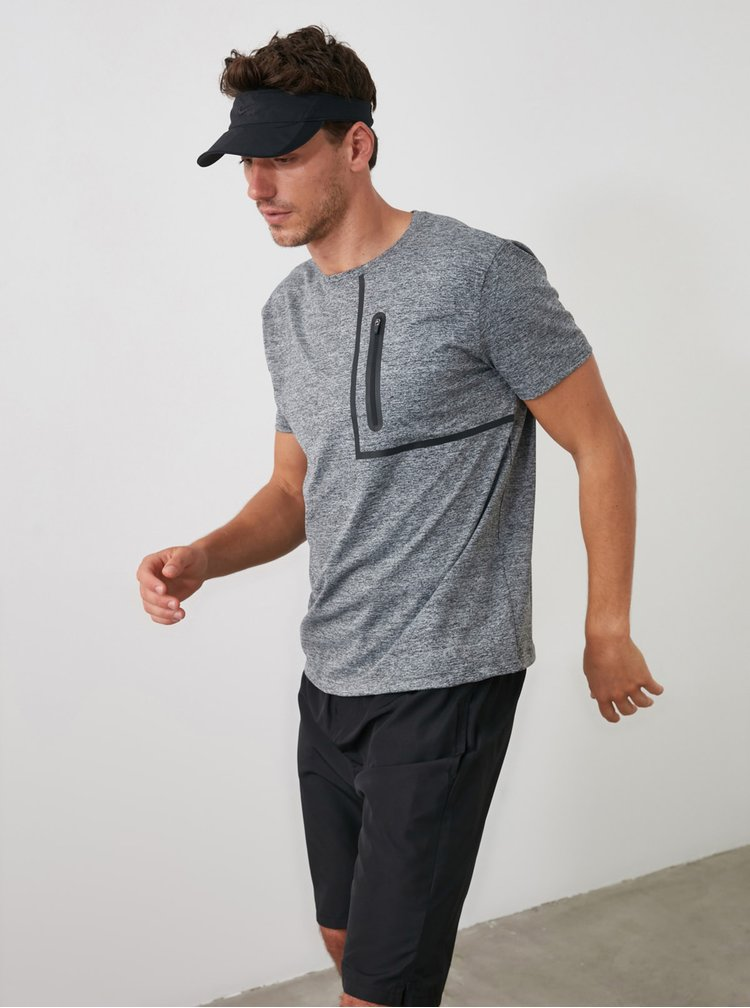 Šedé pánské sportovní tričko Trendyol