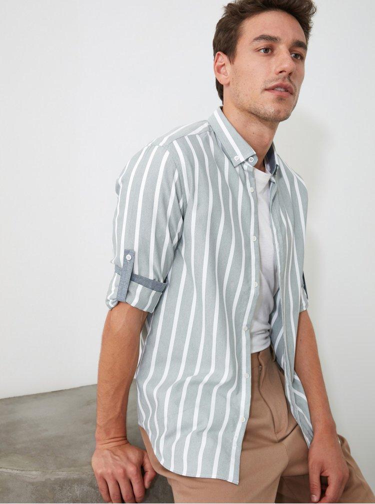 Camasi casual pentru barbati Trendyol - albastru, alb