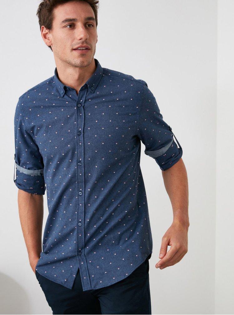 Tmavě modrá pánská puntíkovaná košile Trendyol