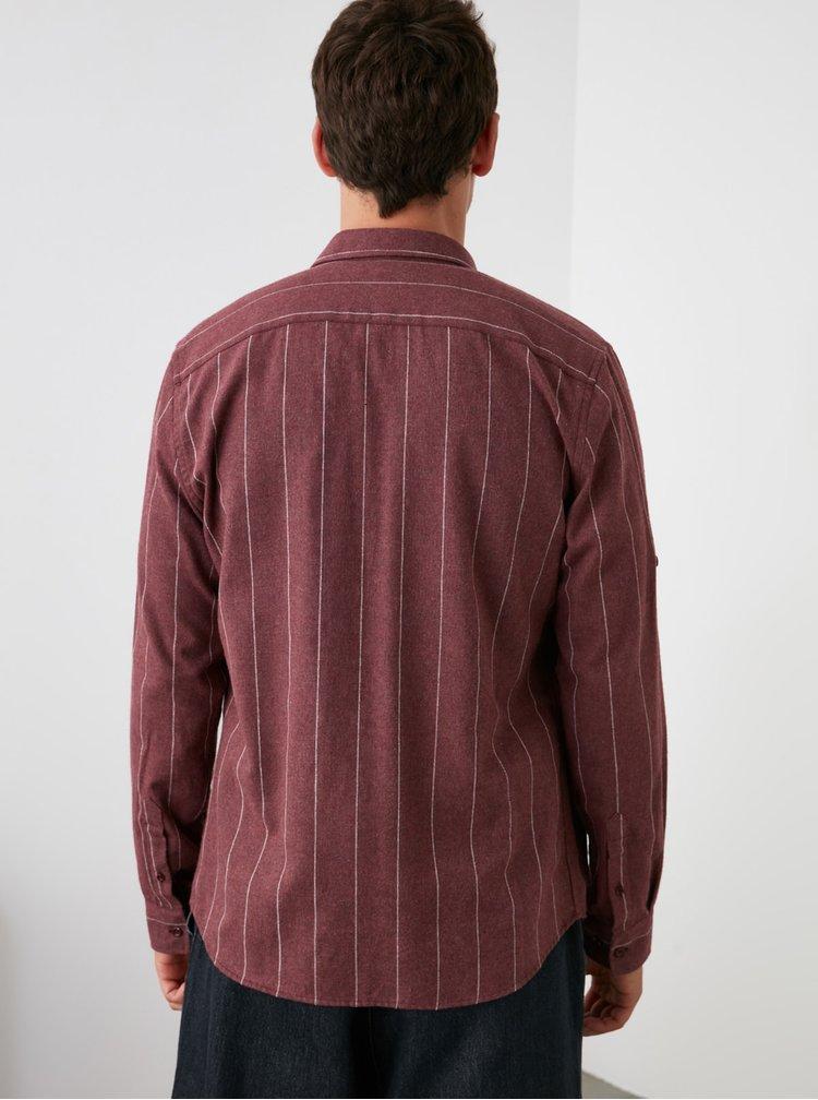 Vínová pánská pruhovaná košile Trendyol