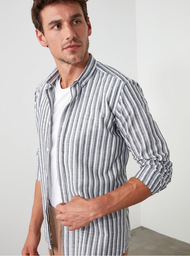 Camasi casual pentru barbati Trendyol - gri, alb