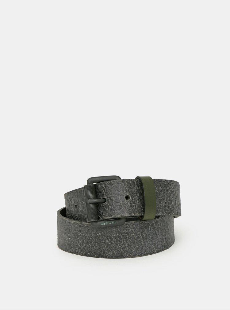 Tmavě šedý pánský kožený pásek Diesel