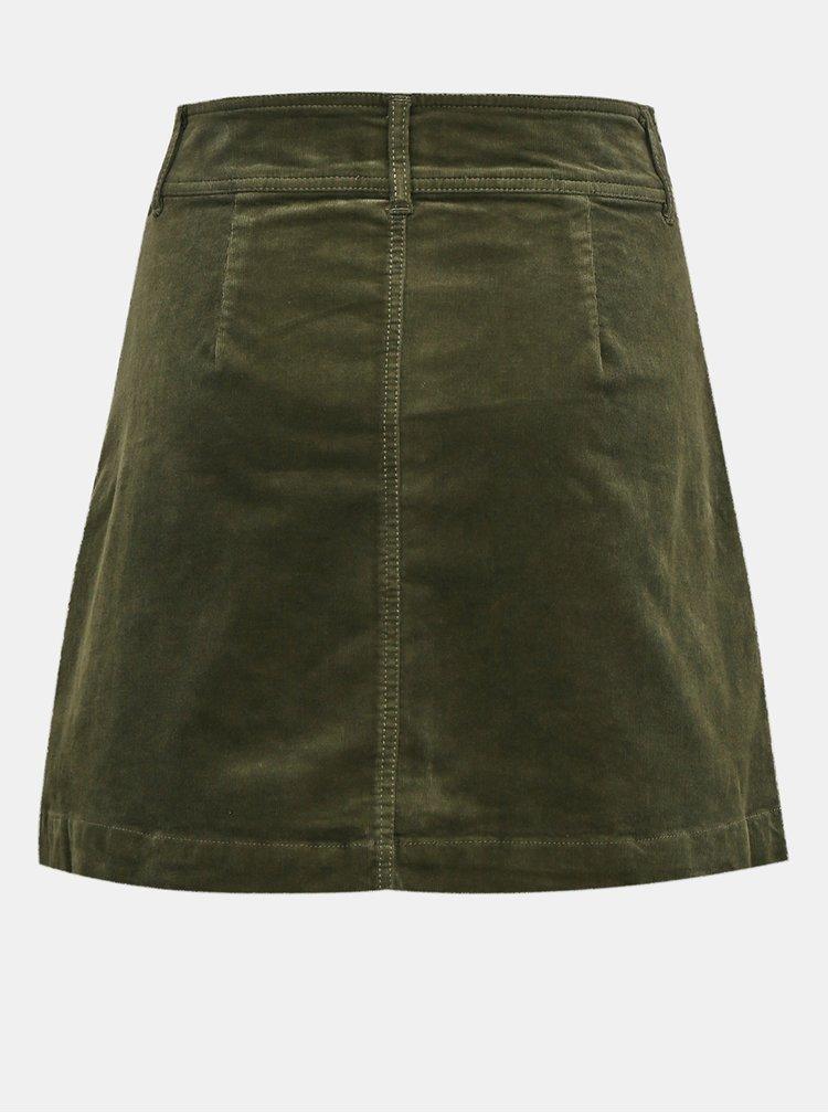 Khaki manšestrová sukně Jacqueline de Yong Era