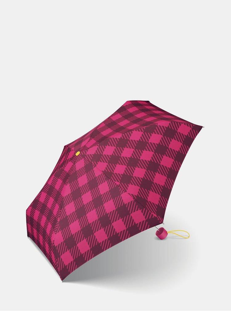 Růžový dámský kostkovaný skládací deštník Esprit