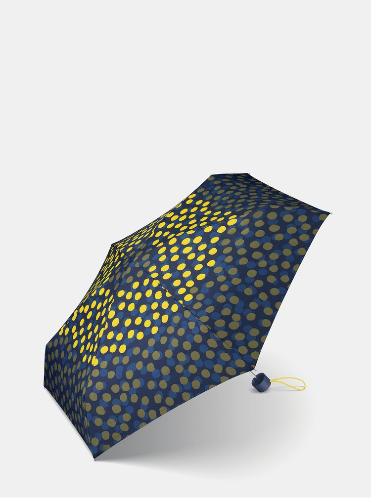 Žluto-modrý dámský puntíkovaný skládací deštník Esprit