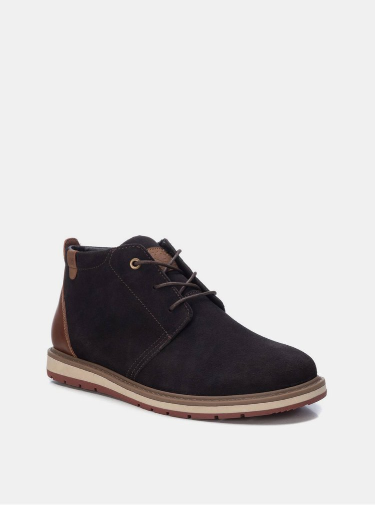Tmavě hnědé pánské semišové kotníkové boty Xti