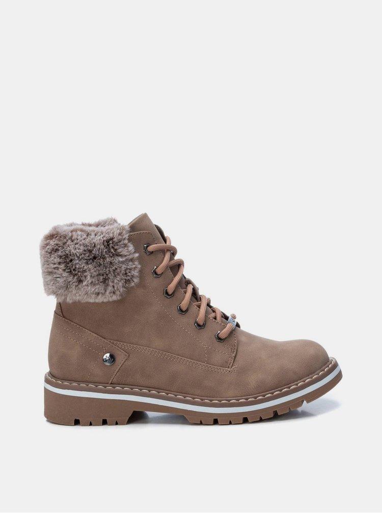 Béžové dámské kotníkové boty Xti