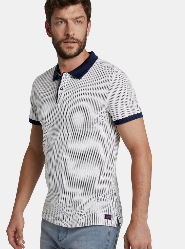 Tricouri polo pentru barbati Tom Tailor - alb, albastru inchis
