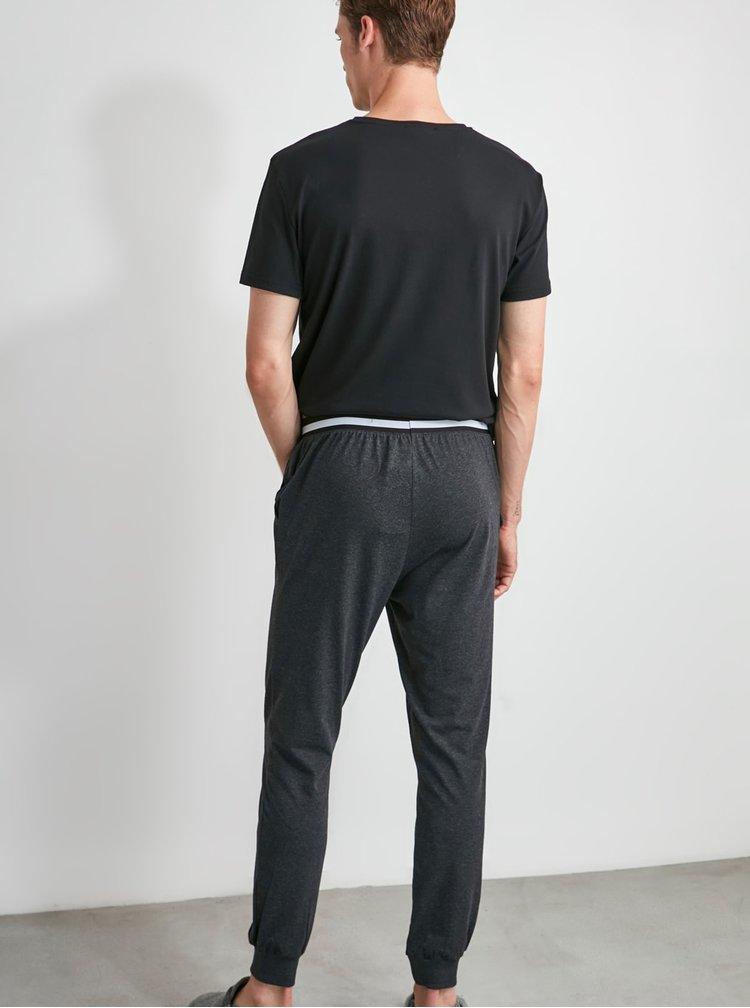 Tmavě šedé pánské pyžamové kalhoty Trendyol