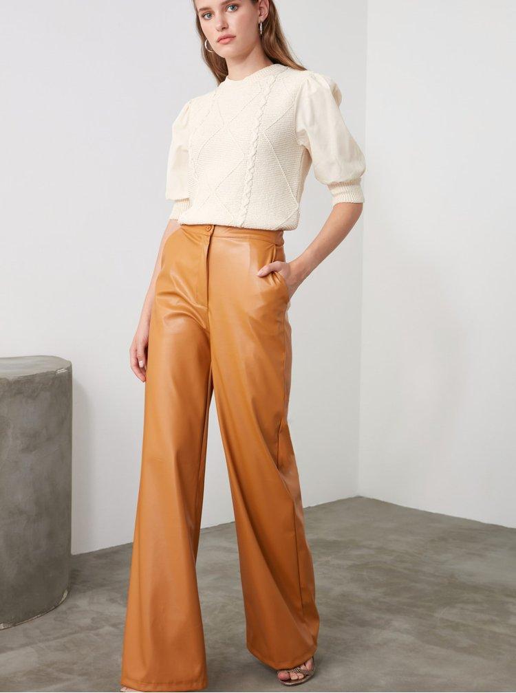 Hořčicové dámské koženkové široké kalhoty Trendyol